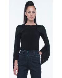Norma Kamali | Black Side Seam Fringe Long Sleeve Top | Lyst