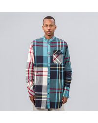 J.W. Anderson - Multicolor Crinkle Check Long Shirt In Mint for Men - Lyst
