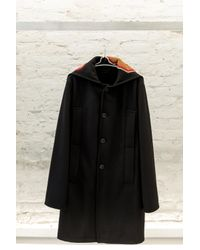 Raf Simons - Black Coat With Destroyed Graphic for Men - Lyst