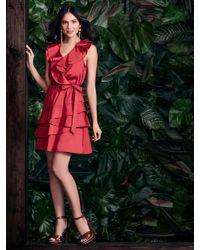 New York & Company - Red Ruffled V-neck Flare Dress - Lyst