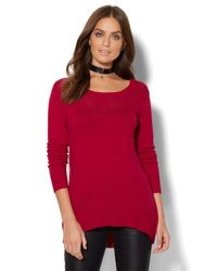 New York & Company - Red Park Avenue Tunic Sweater - Lyst