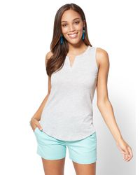 New York & Company - Gray Hampton Split-neck Tank - Lyst