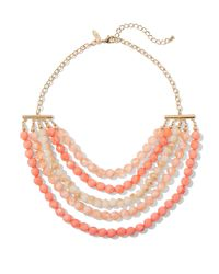 New York & Company - Pink 5-row Faceted Bead Necklace - Lyst