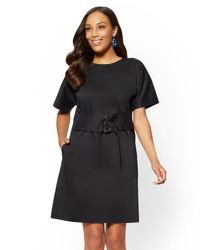 New York & Company - Black Poplin Corset Shift Dress - Lyst