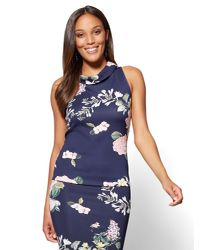 New York & Company - Blue 7th Avenue Funnel-neck Top - Navy Floral - Lyst