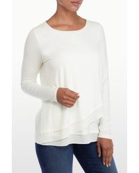 NYDJ | White Layered Front Knit Top | Lyst