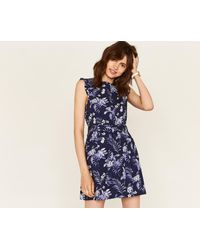 0b0758dc0d Lyst - Oasis Short Palm Shift Dress in Blue