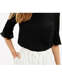 Oasis - Fluted Sleeve Top - Black - Lyst