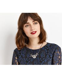 Oasis - Gray Jewelled Cluster Necklace - Lyst