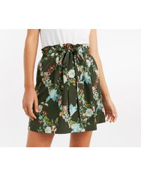 Oasis - Green Flortal Tie Skirt - Lyst