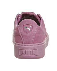 PUMA - Pink Suede Platforms - Lyst
