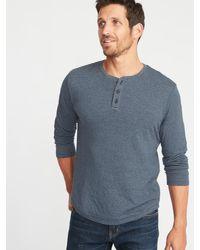 12f172ba Old Navy Double-knit Long-sleeve Henley in Blue for Men - Lyst