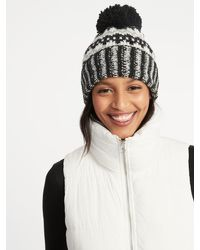 Lyst - Old Navy Printed Sweater-knit Pom-pom Beanie in Black e72e74e54f2f