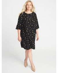 b73a242e33ac Lyst - Old Navy Floral-print 3 4-sleeve Plus-size Shift Dress in Black