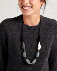 Oliver Bonas - Black Lorine Rubber Coated Bead Necklace - Lyst