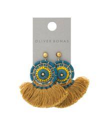 Oliver Bonas - Multicolor Soleil Beaded Tassel Fan Drop Earrings - Lyst