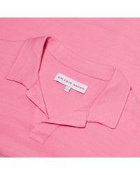 Orlebar Brown - Pink Felix Slub Resort-polo In Light Paradise for Men - Lyst