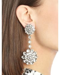 Oscar de la Renta - Metallic Jeweled Drop Earrings - Lyst