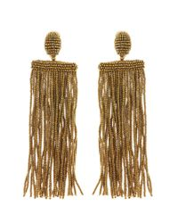 Oscar de la Renta - Metallic Long Beaded Waterfall Tassel Earrings - Lyst