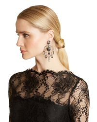 Oscar de la Renta - Metallic Swarovski Shield Chandelier Earrings - Lyst
