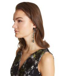 Oscar de la Renta - Black Swarovski Crystal Pavé Bow Spiral Earrings - Lyst