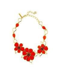Oscar de la Renta | Multicolor Resin & Crystal Flower Necklace | Lyst