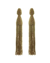 Oscar de la Renta - Multicolor Long Beaded C Tassel Earrings - Lyst