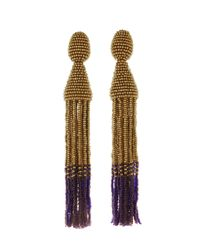 Oscar de la Renta - Metallic Long Ombré Tassel Earrings - Lyst