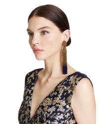 Oscar de la Renta - Metallic Long Ombré Tassel Earrings - Lyst