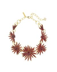 Oscar de la Renta - Multicolor Floral Resin And Pavé Necklace - Lyst