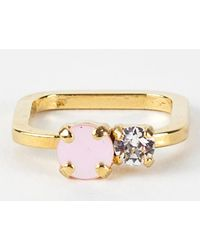 Sabrina Dehoff | Rounded Square Ring With Pink Swarovski Stone | Lyst