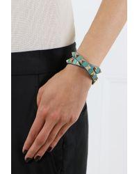 Valentino - Green Rockstud Wrap Leather Bracelet Aqua - Lyst