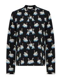 Stella McCartney | Eva Silk Shirt Swan Print Black | Lyst