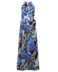 Emilio Pucci | Halterneck Maxi Dress Mountain Print Blue | Lyst
