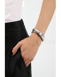 Valentino - Gray Rockstud Wrap Leather Bracelet Pastel Grey - Lyst