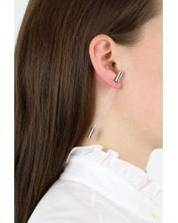 Balenciaga - Metallic Tie Pin Earring Silver - Lyst