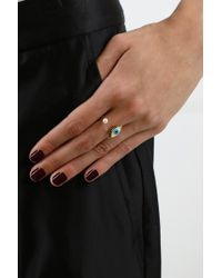 Delfina Delettrez - Metallic Eye Piercing Ring Gold/turquoise - Lyst