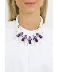 EK Thongprasert - Silicone Five Jewel & Metal Neckpiece White/amethyst Crystals - Lyst