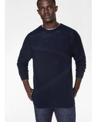 Paul Smith | Blue Men's Navy Textured Stripe Wool Sweater for Men | Lyst