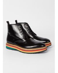Paul Smith - Black High-Shine Leather 'Corelli' Boots With Multi-Coloured Soles for Men - Lyst