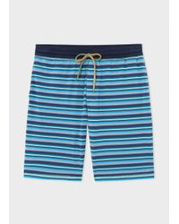 Paul Smith | Men's Blue Stripe Jersey Shorts for Men | Lyst