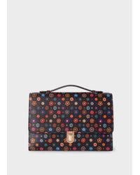 Paul Smith - Women's Black 'tudor Rose' Print 'concertina' Satchel - Lyst