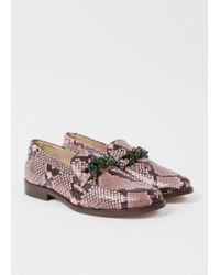 Paul Smith | Women's Pink Snake-effect Calf Leather 'cora' Loafers | Lyst