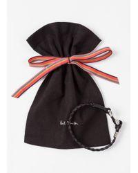 Paul Smith - Men's Black Five-strand Plaited Leather Bracelet for Men - Lyst