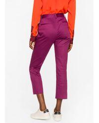 Paul Smith | Purple Women's Slim-fit Maroon Polka Dot Stretch-cotton Trousers | Lyst