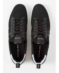 Paul Smith - Men's Black 'Rabknit' Knitted Trainers With Striped Webbing for Men - Lyst