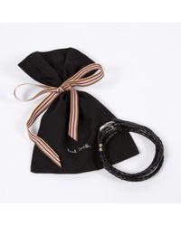 Paul Smith - Men's Black Leather Wrap Bracelet for Men - Lyst