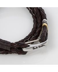 Paul Smith   Men's Brown Leather Wrap Bracelet for Men   Lyst
