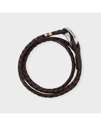 Paul Smith | Men's Brown Leather Wrap Bracelet for Men | Lyst