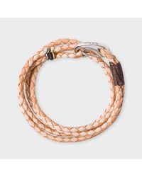 Paul Smith | Brown Men's Light And Dark Taupe Leather Wrap Bracelet | Lyst